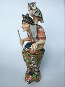 Russian Folklore Witch Baba Yaga Goddess With Owl Wood Carving Collectible 14 In