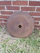 Vintage Farm Implement Disc Plow Blade Industrial Steampunk 17 1/4 Table Base
