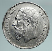 1873 Belgium With King Leopold Ii And Lion Genuine Silver 5 Francs Coin I90971
