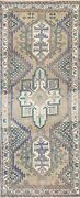 Antique Muted Geometric Traditional Runner Rug Hand-knotted 2and039 7and039and039 X 6and039 11and039and039
