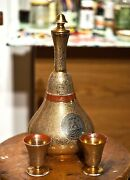 Antique Czech Bohemian Glass Decanter And 2 Cordials 24k Gold Inlaid 13 H 6 ½ W