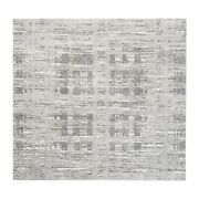 8'x8' Modern Undyed Natural Wool Hand Knotted Light Gray Square Rug G62892