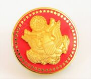 Vintage United States Political Pin Gold Tone Red Federal Eagle Seal Lapel Pin