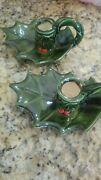Vintage Lefton Candle Holder Holly And Berry Green Christmas Rare Decoration