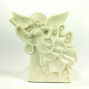 Partylite O Holy Night Nativity Bisque Votive Angel Candle Holder 5 Tall