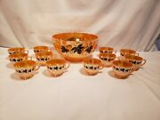 Vintage Peach Glass Tom And Jerry Drink Set, Punch Bowl, 12 Cups, Ivy Design