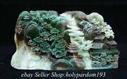 10.6 Chinese Natural Green Dushan Jade Carving Mountain Tree House Sculpture