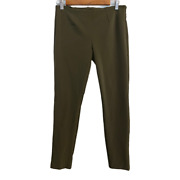 Theory Womens Size 4 Green Pants Stretch Flat Front Straight Leg Size Zip And Slit