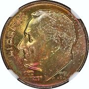 1954-d, 10c, Roosevelt Silver Dime, Beautiful Rainbow Toned - Ngc - Ms67