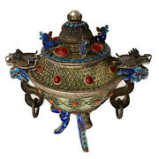 Antique Chinese China Qing Silver Enamel Gilt Jade Censer Incense Burner 1900andrsquos
