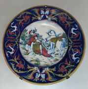 Antique Lustre Pottery Italian Roman History Majolica 17 Plate Charger Italy