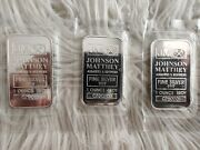Lot Of Three 3 Johnson Matthey 1oz Silver Bar With Consecutive Numbers