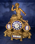 Antique Frech Japy Freres Gilt Mental Clock W/ Lady Figurine And Painted Porcelain