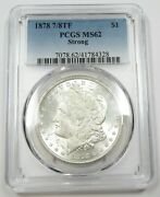 1878-7/8tf Pcgs Ms62 Strong Tail Feather Silver Morgan Dollar 1 Us Coin 27782a