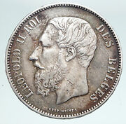 1872 Belgium With King Leopold Ii And Lion Genuine Silver 5 Francs Coin I90893