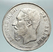 1870 Belgium With King Leopold Ii And Lion Genuine Silver 5 Francs Coin I90899