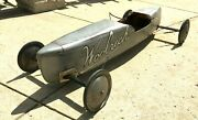 Vintage 1930s Original Wood Soapbox Derby Car Silver With Woolrich Logo Full S