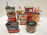 Vintage Household Oil Cans Mobil Sinclair Finol Shell Sears Rawleigh Lot Of 9