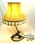 Lovely W.a.s. Benson Arts And Crafts Brass Cannonball Counterbalance Lamp W/shade