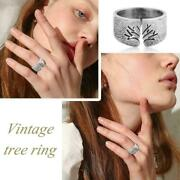 Vintage Tree Of Life Ring Male Silver Ring Gothic Punk Birthday Jewelry Uk F4t1