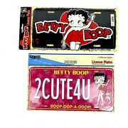 Vintage Lot Of 2 Betty Boop License Plates 1999 King Features Syndicate Sealed