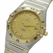 Wrist Watch Omega Constellation 1252.1 Menand039s Analog Gold Silver Quartz Used