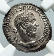 Emperor Macrinus Vintage Ancient 217ad Old Silver Roman Coin Fides Ngc I91310