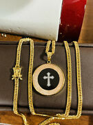 K18 Japan Gold 8 Cut Solid Kihei Mens Womenandrsquos Cross Mary Necklace 24andrdquo 3mm 19.94g
