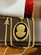 K18 Japan Gold 8 Cut Solid Kihei Womenandrsquos Agate Cameo Necklace 24andrdquo 3mm 21.05grams