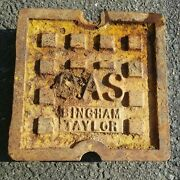 Vintage Cast Iron Bingham Taylor Square Gas Cover 9andrdquo X 9andrdquo Plate