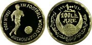 Egypt Gold 100 Pounds Football World Cup 1990 Pcgs Pr 68 Dcam Extremely Rare