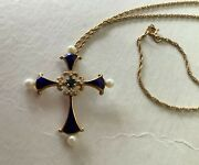 1983 Franklin Mint Faberge Design 14k Sapphire Midnight Cross Pendant And Necklace