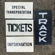 Lot Of 4 Vintage Back Lit Train Station Signs Made In Boston By Crown Plastics