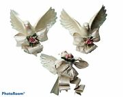 Victorian Christmas Ornaments 2 Beautiful Large Doves And 1 Small Bird