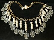 Rare Vintage 18x3 Signed Miriam Haskell Pearl Clear Glass Dangle Necklace A56
