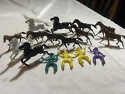 Vintage Lido And Unmarked Plastic Horses And Adjustable Cowboys And Indians