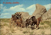 Old West Stage Coach Horses American Airlines Advertising Postcard Sku245