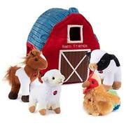 Plush Farm Animals For Toddlers With Plush Barn House Carrier. Animal Farm