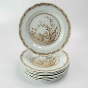 Vintage Furnivals Brown Quail Luncheon Plates 8.75 Set Of 8 Aa114