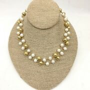Unsigned Faux Pearl And Gold Bead Strand Or Choker Necklace, Costume Jewelry