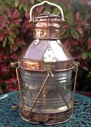 Antique Victorian Large Copper And Brass Ships Lamp Height 20 50cm