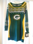 Klew Green Bay Packers Womenand039s Or Juniors Christmas Sweater Dress Small Nfl Team