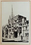 Sybil Andrews Original Signed Etching Titled Oxford All Souls College Circa 1927