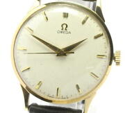 Omega K18yg Cal.284 Antique Manual Winding Silver Dial Menand039s Watch [u0530]
