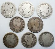 Run Of 8 1897-1904 Silver Barber Quarters Philadelphia Minted 25c Us Coins Ac