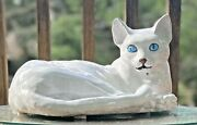 Large Terra Cotta Cat Statue Italy Mcm Tin Glazed Life Size Sculpture 14 Marked