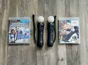 Sony Playstation Move Bundle 2 Motion Controllers And 2 Move Games Ps3 Vr Lot