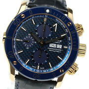 Wristwatch Edox Chrono Offshore Day-date 01122 Menand039s Used Black Blue Gold