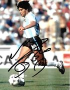 Diego Maradona In Action During The World Cup 1986 Signed 10x8 Photo Scarce