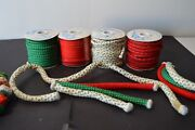 Lot Of Vintage Christmas Holiday Fabric Sewn Cord Rolls Red Green Holly Crafting